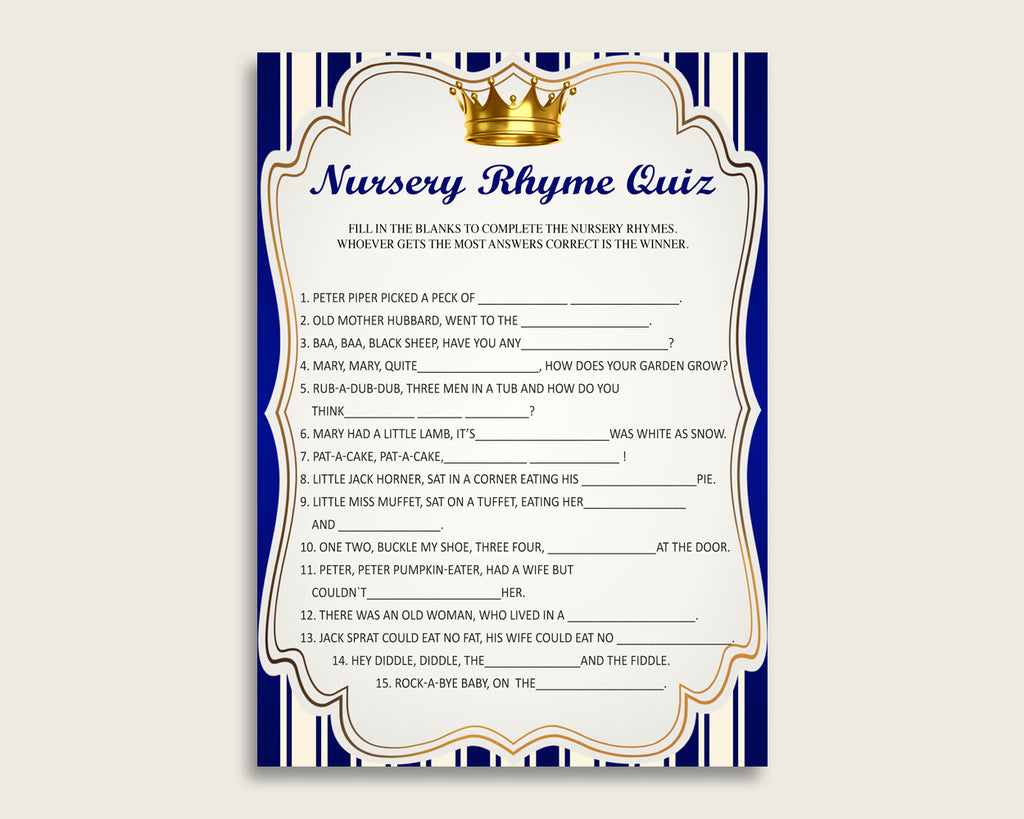 Royal Prince Nursery Rhyme Quiz Printable, Blue Gold Nursery Rhyme Game, Blue Gold Baby Shower Boy Activities, Instant Download, rp001