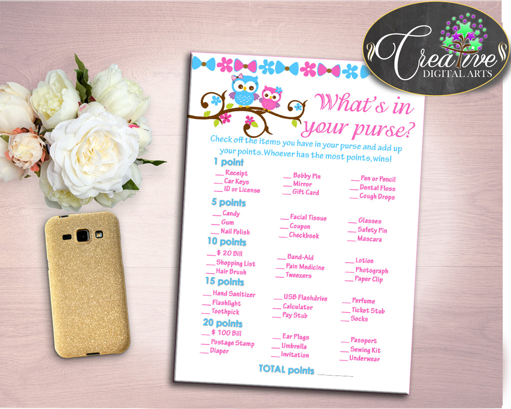 Whats In Your Purse Baby Shower Whats In Your Purse Owl Baby Shower Whats In Your Purse Baby Shower Owl Whats In Your Purse Pink Blue owt01