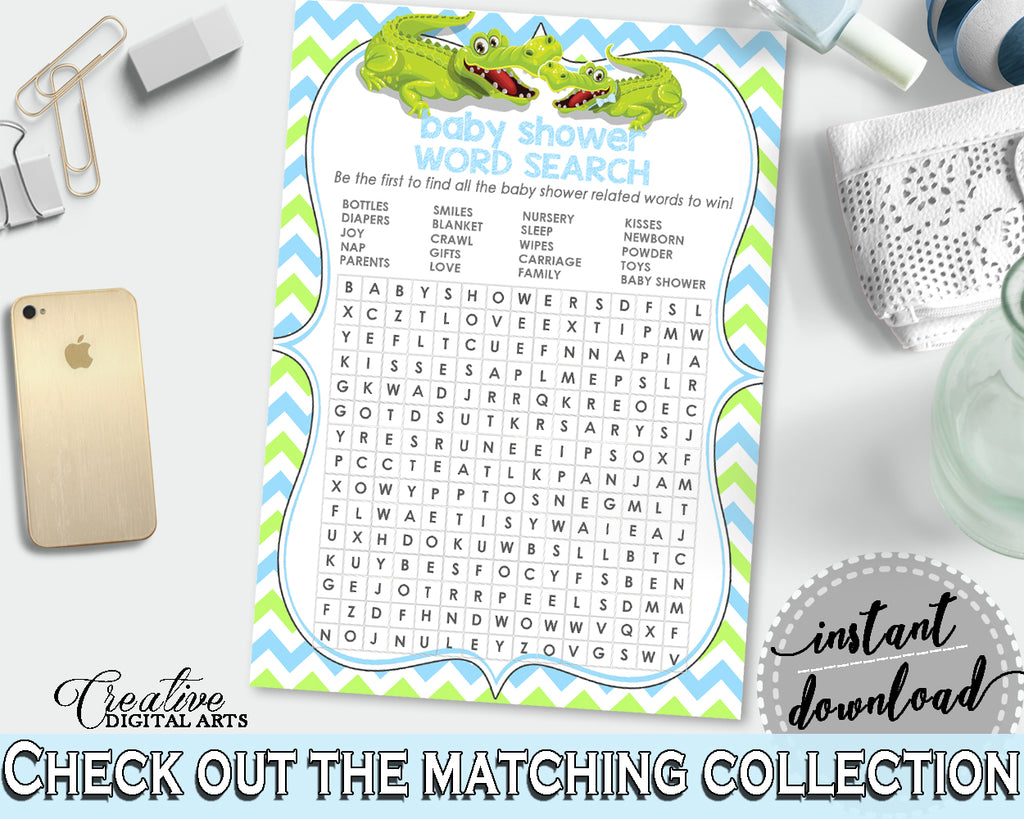 Baby Shower WORD SEARCH game with green alligator and blue color theme, instant download - ap002