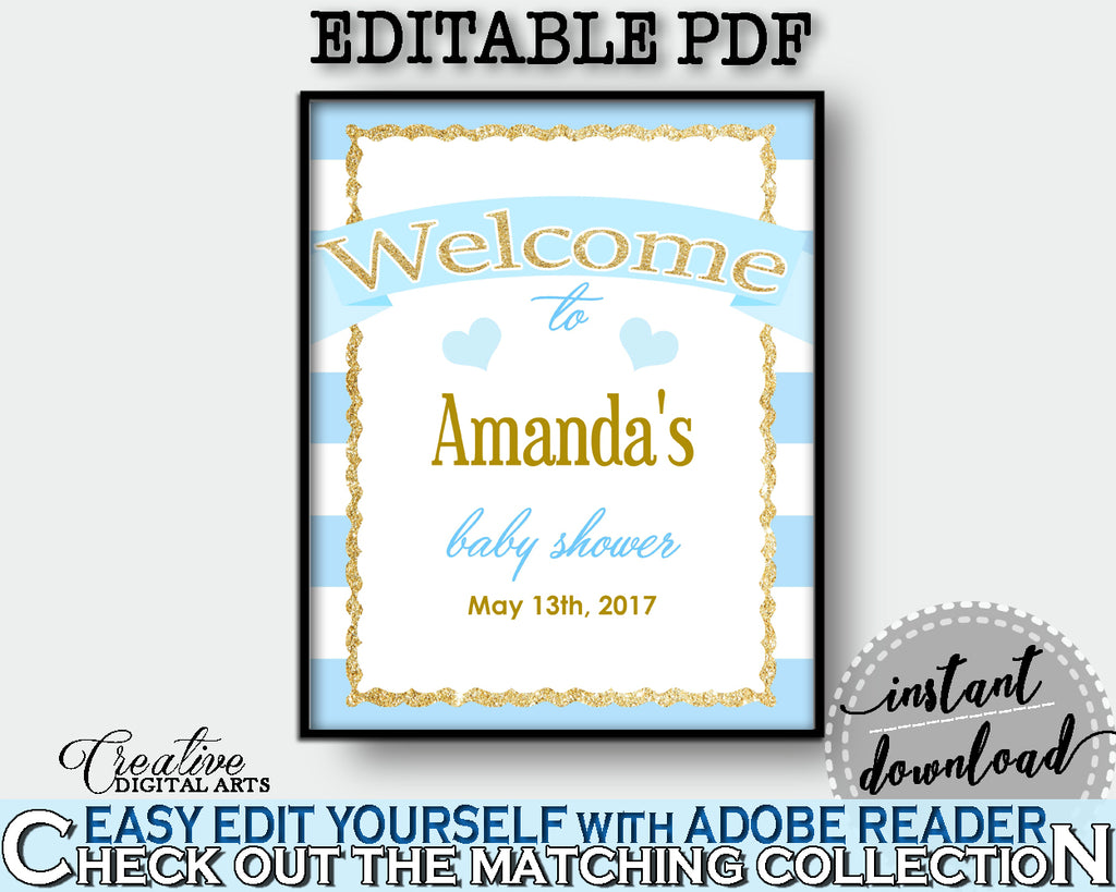 Baby Shower editable and printable WELCOME sign with blue stripes theme, glitter gold, digital files, pdf jpg, instant download - bs002