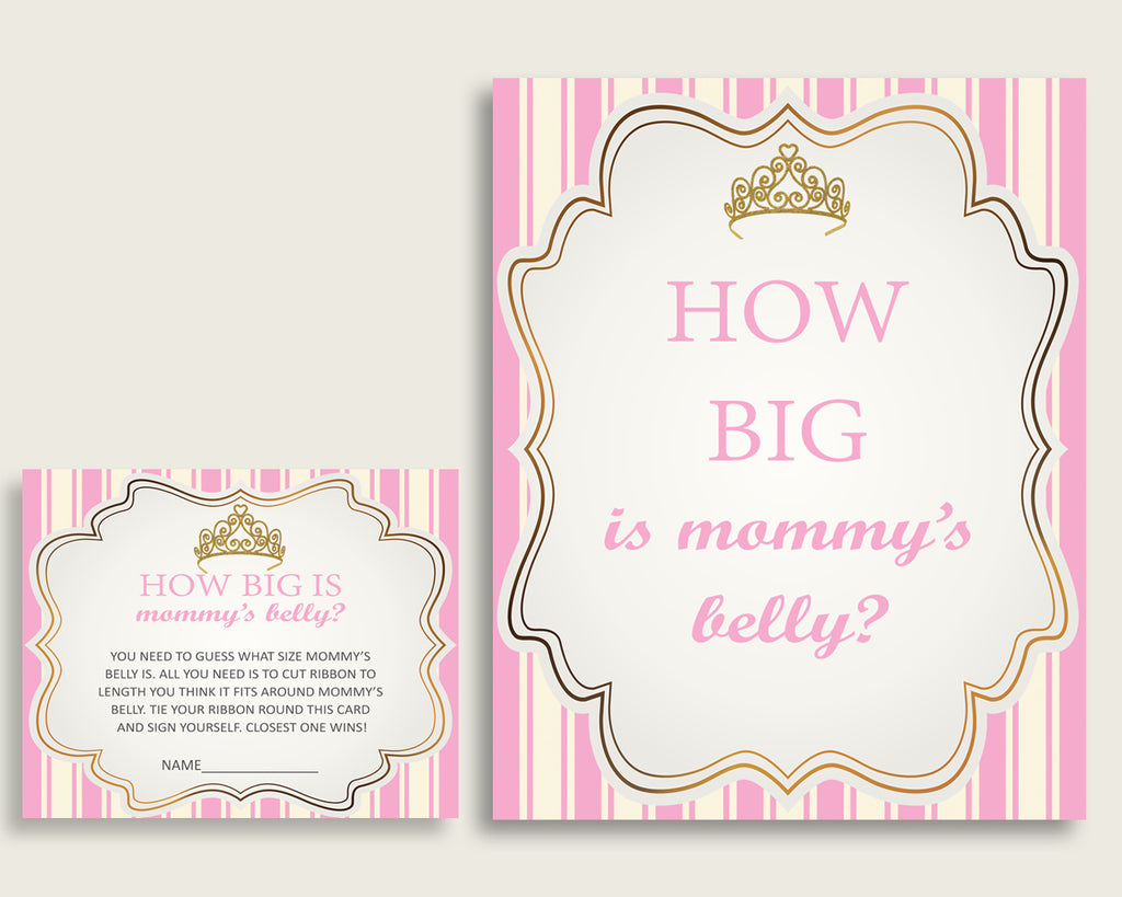 Pink Gold How Big Is Mommy's Belly Game, Royal Princess Baby Shower Girl, Guess Mommys Belly Size, Mommy Tummy Game, Instant Download, rp002