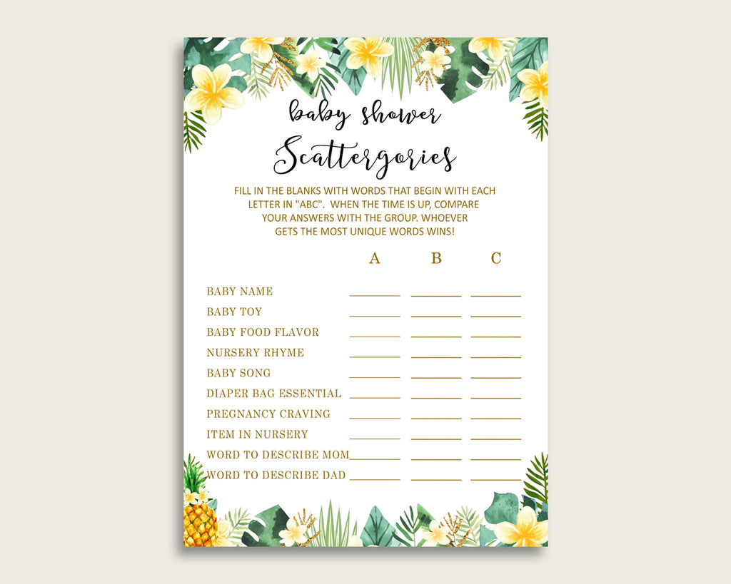 Scattergories Baby Shower Tropical Theme, Green Yellow Scattergories Game Printable, Gender Neutral Baby Shower Fun Activity, Popular 4N0VK