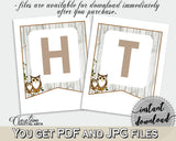 Banner Baby Shower Banner Owl Baby Shower Banner Baby Shower Owl Banner Gray Brown instant download, pdf jpg, printables - 9PUAC - Digital Product