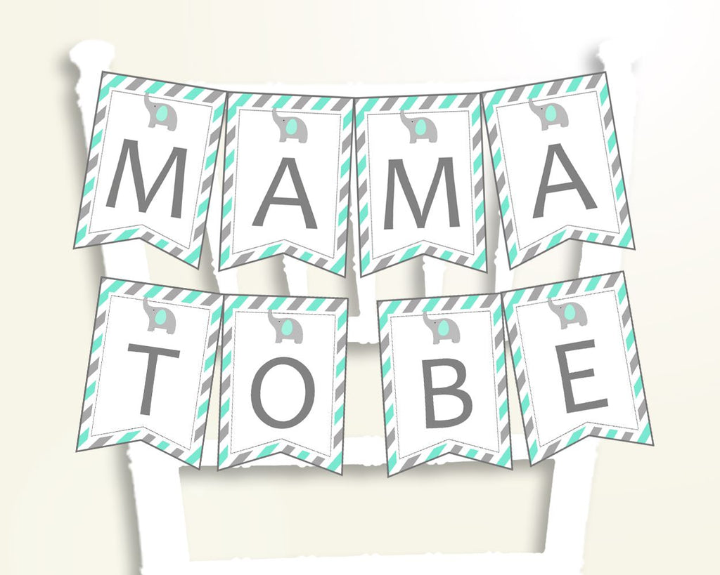 Chair Banner Baby Shower Chair Banner Turquoise Baby Shower Chair Banner Baby Shower Elephant Chair Banner Green Gray party décor 5DMNH - Digital Product