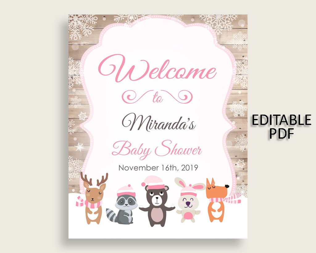 Welcome Sign Baby Shower Welcome Sign Forest Girl Baby Shower Welcome Sign Baby Shower Forest Girl Welcome Sign Pink White prints OBJUF - Digital Product