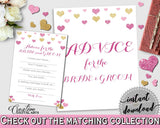 Advice For The Bride And Groom in Glitter Hearts Bridal Shower Gold And Pink Theme, bridal advice cards,  valentine theme, prints - WEE0X - Digital Product