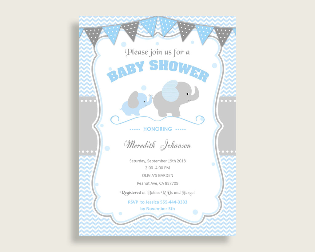 Elephant Baby Shower Invitations Printable, Digital Or Printed Invitation Baby Shower Boy, Editable Invitation Blue Grey Most Popular ebl02