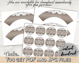 Cupcake Toppers And Wrappers in Traditional Lace Bridal Shower Brown And Silver Theme, cupcake casing, linen bridal, party theme - Z2DRE - Digital Product