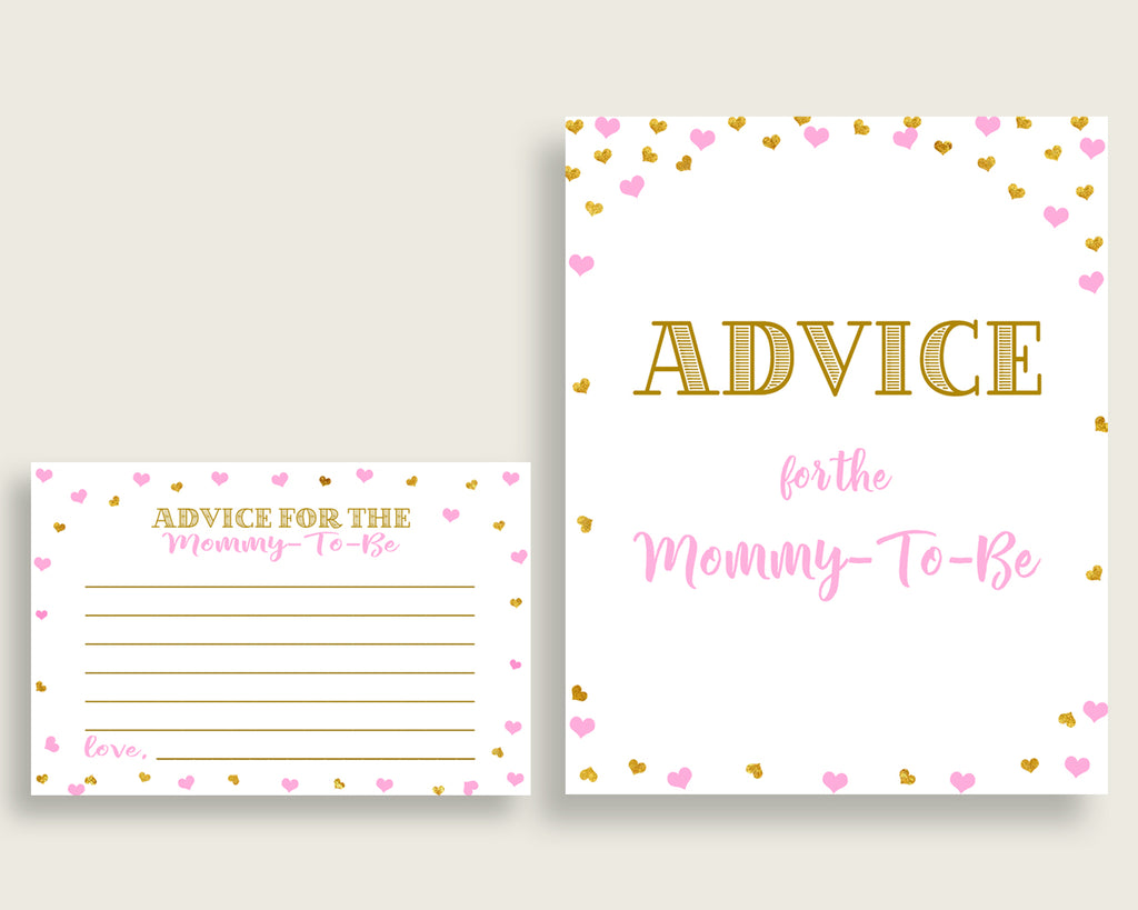 Advice Cards Baby Shower Advice Cards Hearts Baby Shower Advice Cards Baby Shower Hearts Advice Cards Pink Gold party ideas prints bsh01