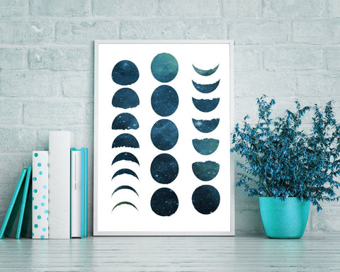Wall Art Moon Phases Digital Print Moon Phases Poster Art Moon Phases Wall Art Print Moon Phases Bedroom Art Moon Phases Bedroom Print Moon - Digital Download