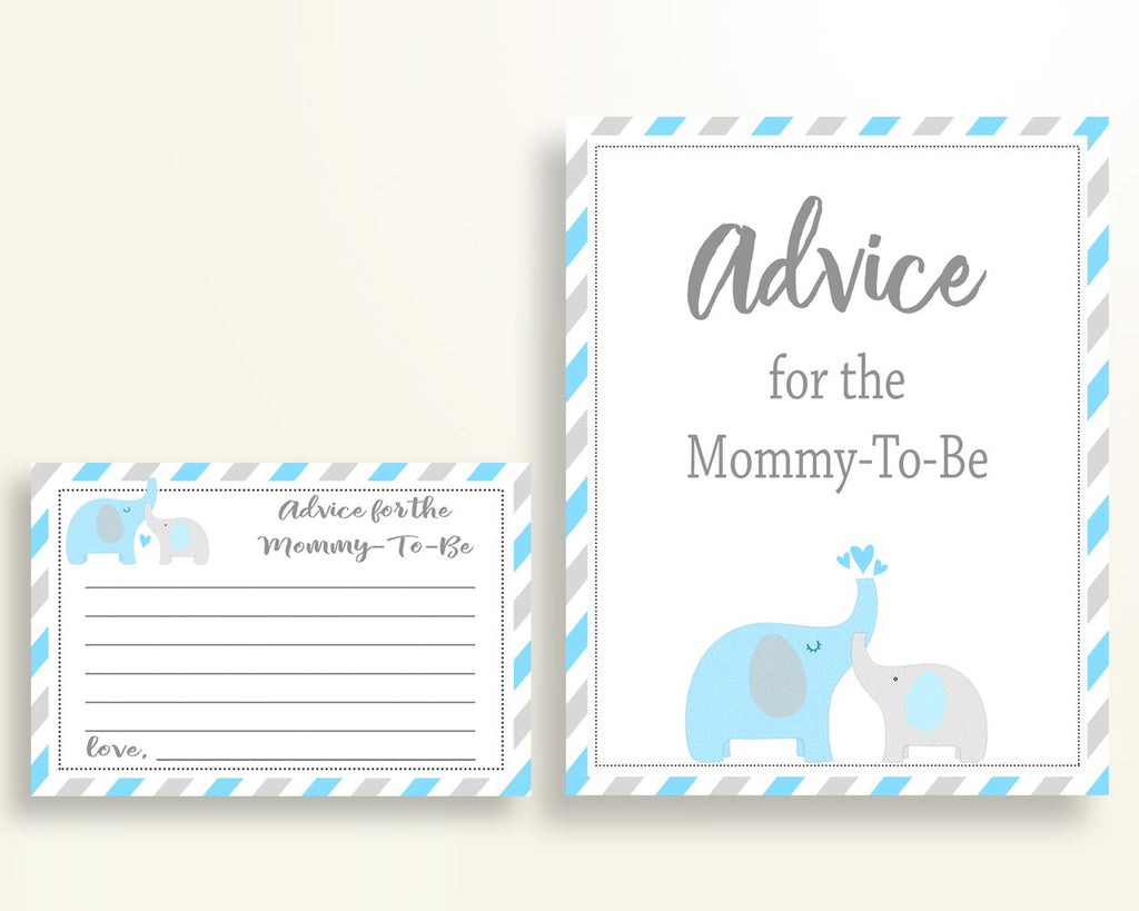 Advice Cards Baby Shower Advice Cards Elephant Baby Shower Advice Cards Blue Gray Baby Shower Elephant Advice Cards printable instant C0U64 - Digital Product