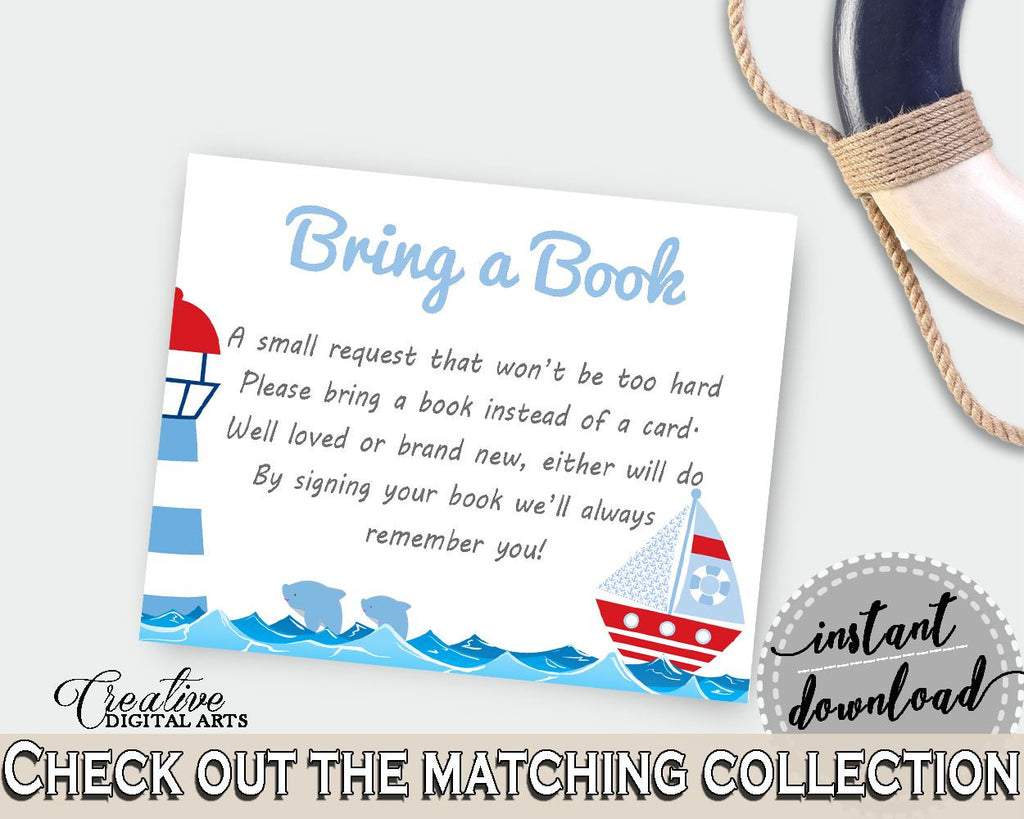 Bring A Book Baby Shower Bring A Book Nautical Baby Shower Bring A Book Baby Shower Nautical Bring A Book Blue Red party theme, pdf DHTQT - Digital Product