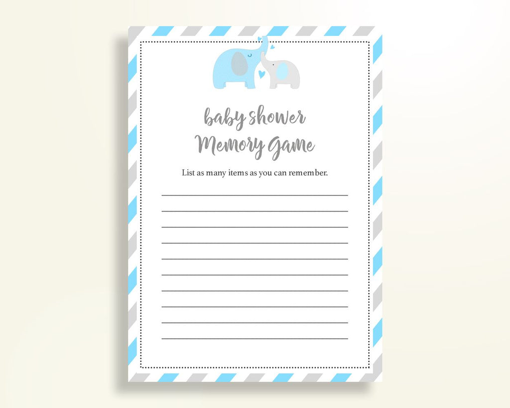 Memory Game Baby Shower Memory Game Elephant Baby Shower Memory Game Blue Gray Baby Shower Elephant Memory Game party theme prints C0U64 - Digital Product