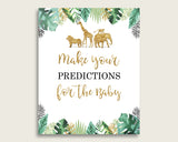 Jungle Baby Shower Prediction Cards & Sign Printable, Gold Green Baby Prediction Game Gender Neutral, Instant Download, Gold Animals EJRED