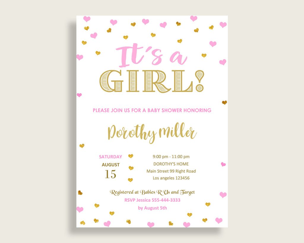 Invitation Baby Shower Invitation Hearts Baby Shower Invitation Baby Shower Hearts Invitation Pink Gold prints shower activity digital bsh01