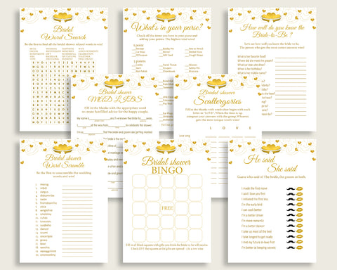Games Bridal Shower Games Gold Hearts Bridal Shower Games Bridal Shower Gold Hearts Games White Gold party décor printable files 6GQOT