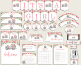 Pink Grey Baby Shower Decorations Girl Kit, Pink Elephant Baby Shower Party Package Printable, Instant Download, Trunk Tusks Snorky ep001
