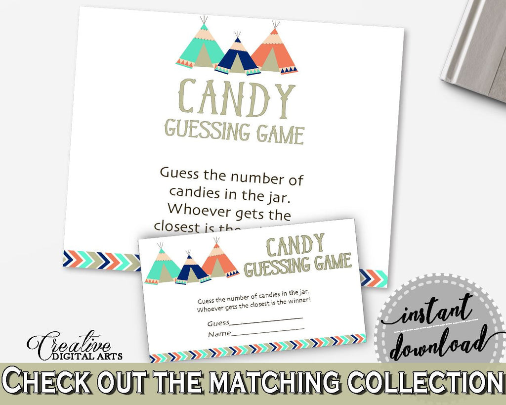 Candy Guessing Game Baby Shower Candy Guessing Game Tribal Teepee Baby Shower Candy Guessing Game Baby Shower Tribal Teepee Candy KS6AW - Digital Product