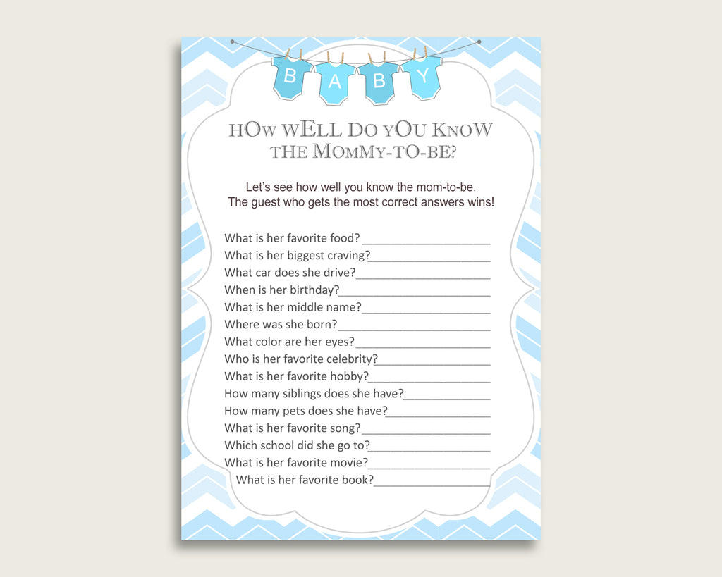 Blue White How Well Do You Know Mommy Game, Chevron Baby Shower Boy, Who Knows Mommy Best Printable, Light Blue Zig Zag Theme cbl01