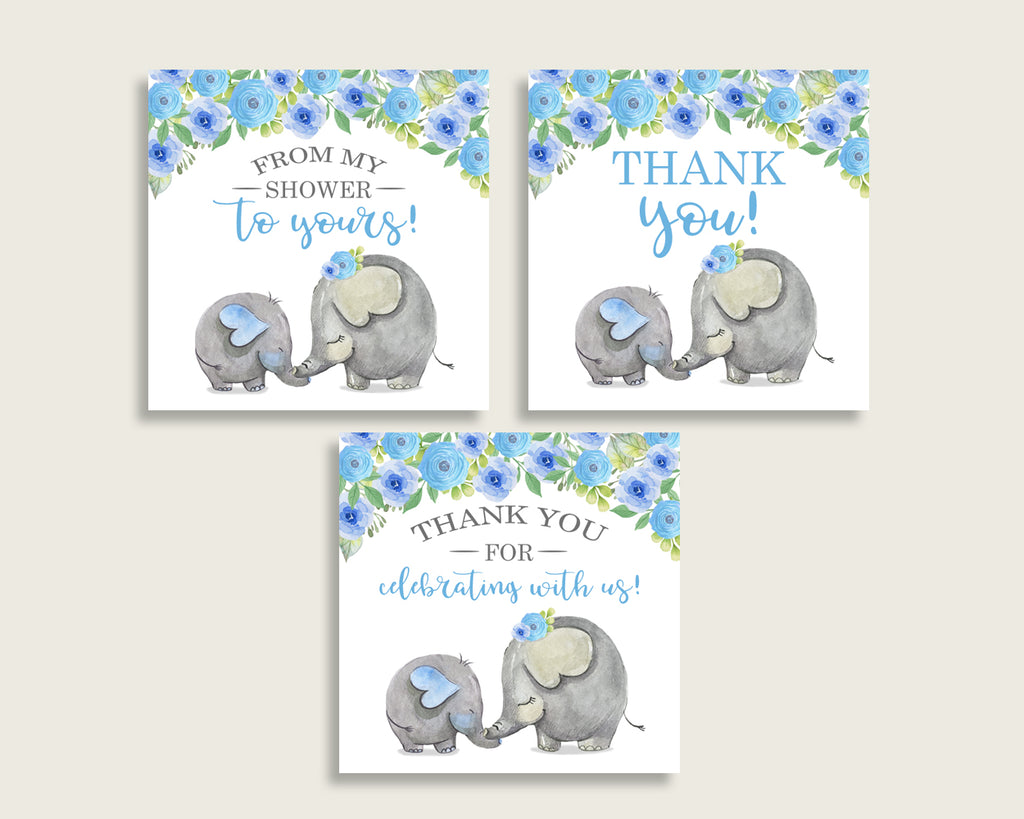 Elephant Blue Baby Shower Square Thank You Tags 2 inch Printable, Blue Gray Boy Shower Gift Tags, Hang Tags Labels, Instant Download ebl01