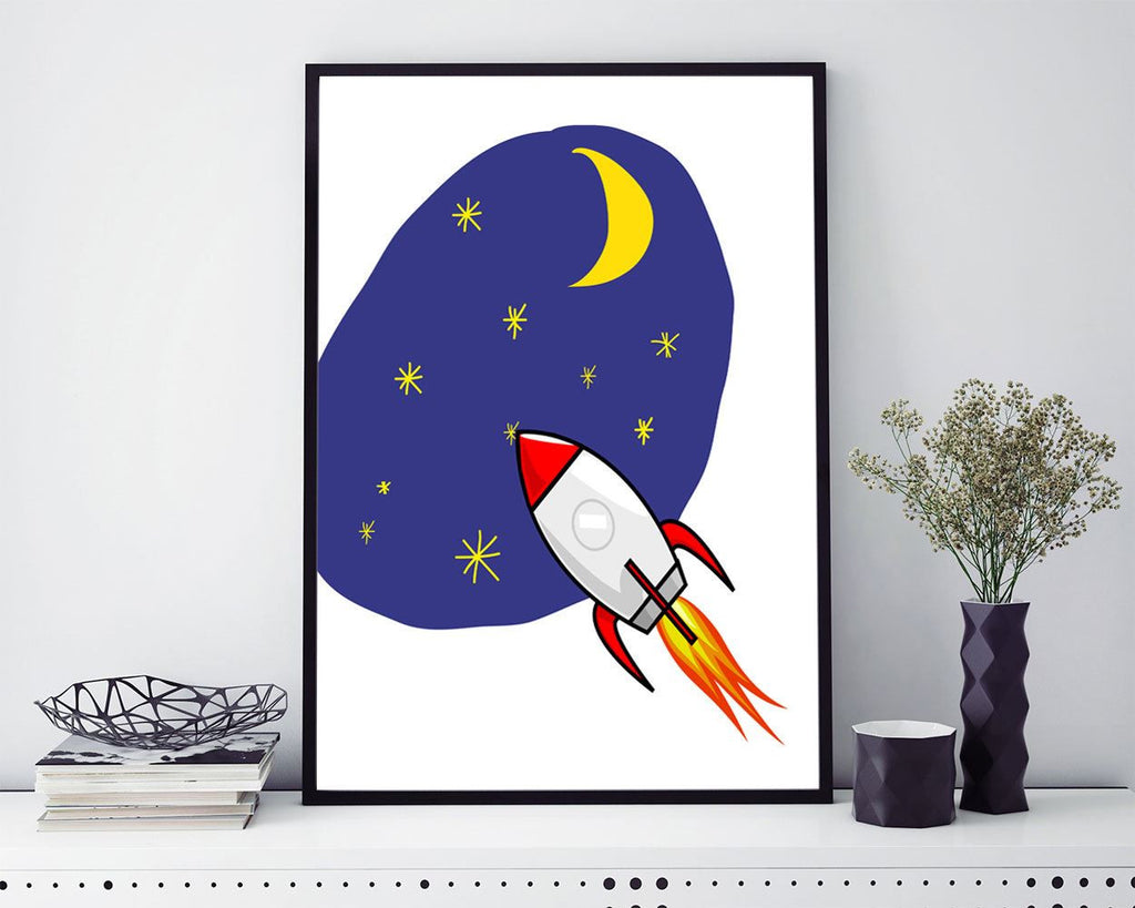 Wall Decor Space Printable Rocket Prints Space Sign Rocket Nursery Art Rocket Nursery Print Space Printable Art Space stars - Digital Download