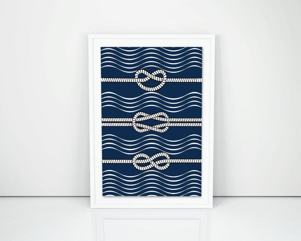 Wall Art Rope Digital Print Nautical Poster Art Rope Wall Art Print Nautical  Wall Decor Rope Sea nautical ropes navy blue knops print - Digital Download