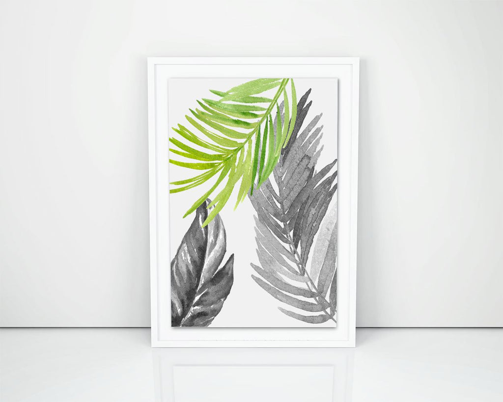 Leaves Framed Print Available Watercolor Canvas Print Available Leaves  Printed Watercolor black white tropical leaves green watercolor - Digital Download