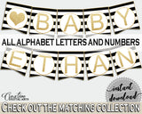 Baby shower BANNER decoration printable with black stripes color theme, glitter all letters, digital files, Jpg Pdf, instant download - bs001