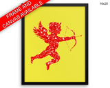 Red Cupid Print, Beautiful Wall Art with Frame and Canvas options available Love Decor