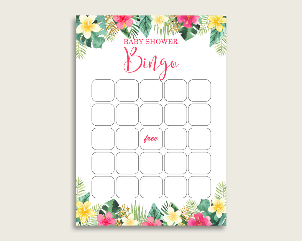 Pink Green Baby Shower Bingo Blank Game Printable, Hawaiian Baby Shower Girl Bingo Blank Cards, Bingo Gift Opening Game, Luau Aloha 955MG