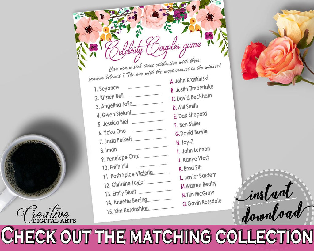Watercolor Flowers Bridal Shower Celebrity Couples Game in White And ...