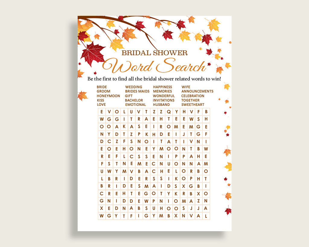 Word Search Bridal Shower Word Search Fall Bridal Shower Word Search Bridal Shower Autumn Word Search Brown Yellow paper supplies YCZ2S