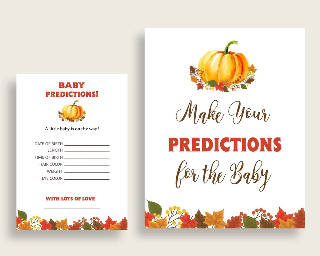 Baby Predictions Baby Shower Baby Predictions Fall Baby Shower Baby Predictions Baby Shower Pumpkin Baby Predictions Orange Brown BPK3D - Digital Product