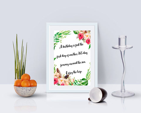 Wall Art Birthday Digital Print Birthday Poster Art Birthday Wall Art Print Birthday  Wall Decor Birthday jurney print birthday printable - Digital Download