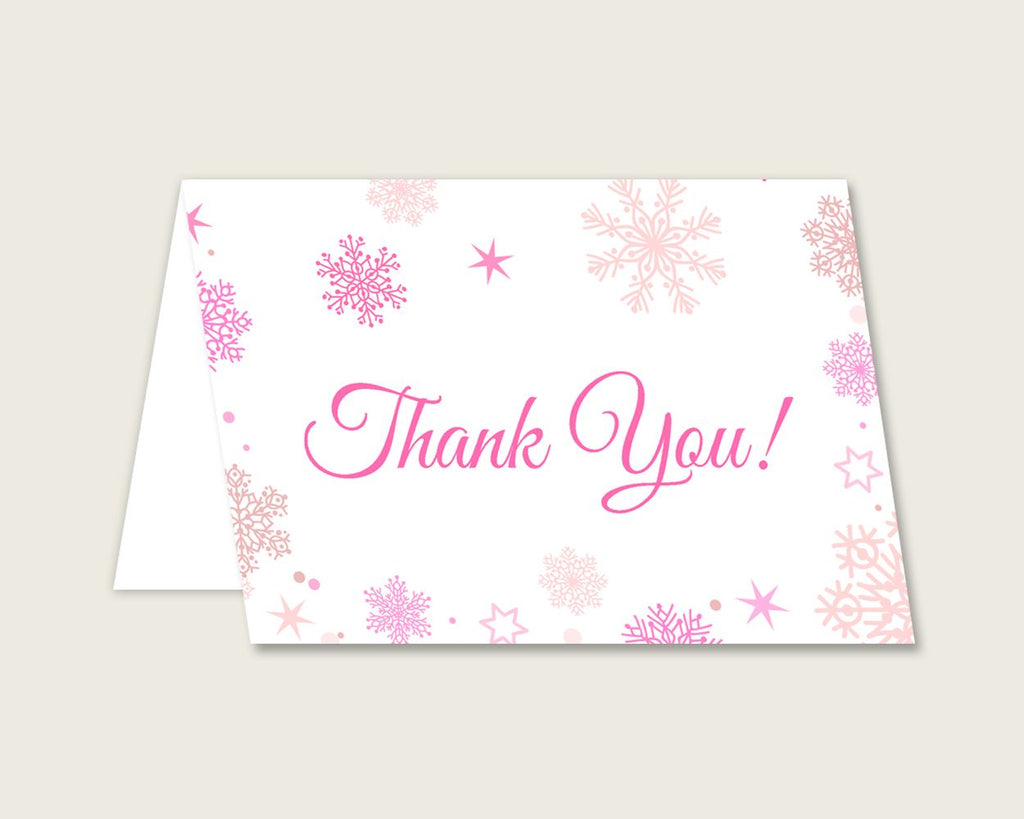 Thank You Card Baby Shower Thank You Card Winter Baby Shower Thank You Card Baby Shower Girl Thank You Card Pink White party theme 74RVX - Digital Product