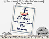 Days Until Becomes in Nautical Anchor Flowers Bridal Shower Navy Blue Theme, countdown to mrs, seafaring shower, customizable files - 87BSZ - Digital Product