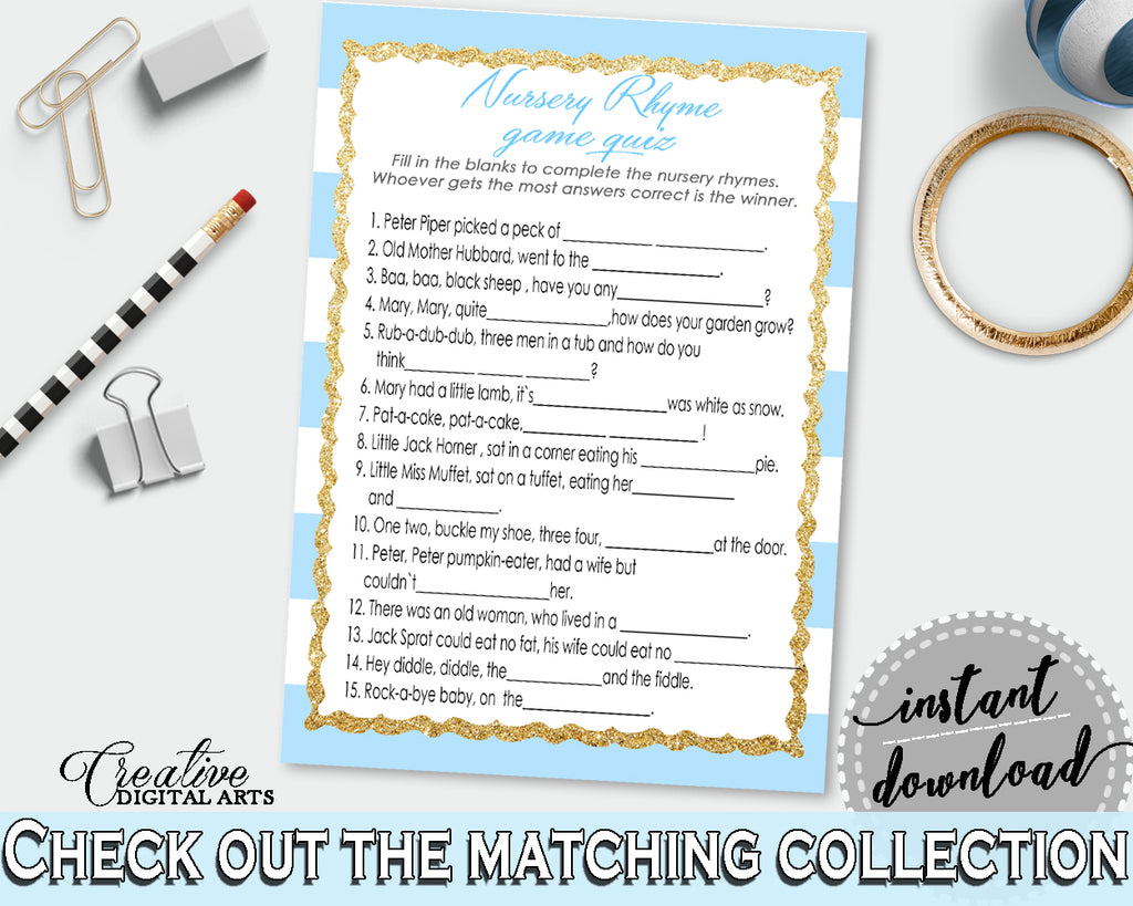 Baby Shower printable NURSERY RHYME QUIZ game with blue and white strips, glitter gold, digital files, instant download - bs002