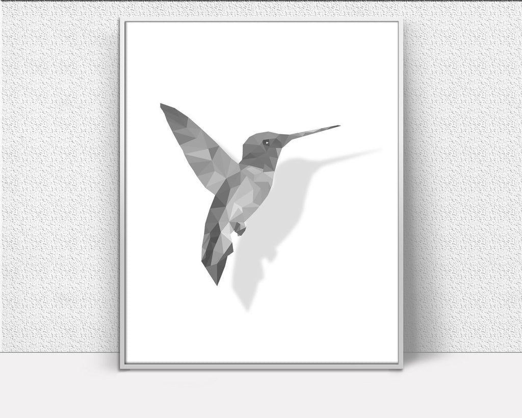 Wall Art Bird Digital Print Bird Poster Art Bird Wall Art Print Bird Low Poly Art Bird Low Poly Print Bird Wall Decor Bird Flying Humminbird - Digital Download