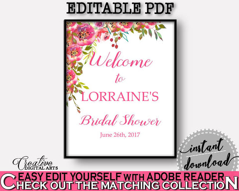 Welcome Sign Bridal Shower Welcome Sign Spring Flowers Bridal Shower Welcome Sign Bridal Shower Spring Flowers Welcome Sign Pink Green UY5IG - Digital Product
