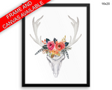 Skull Antlers Print, Beautiful Wall Art with Frame and Canvas options available Animal Decor