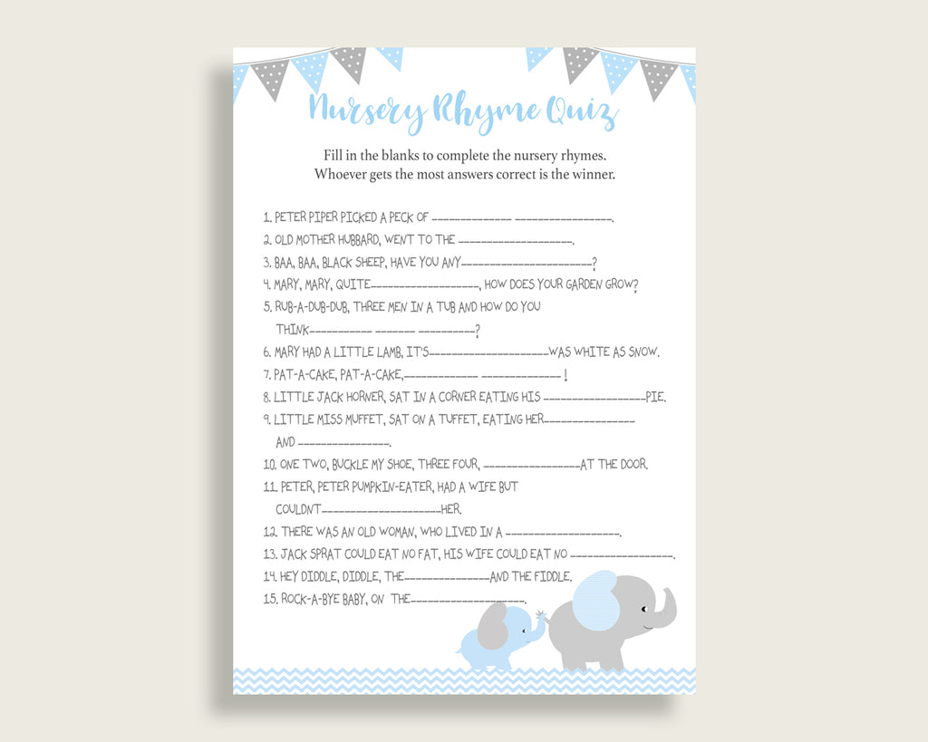 Elephant Nursery Rhyme Quiz Printable, Blue Grey Nursery Rhyme Game, Blue Grey Baby Shower Boy Activities, Instant Download, ebl02