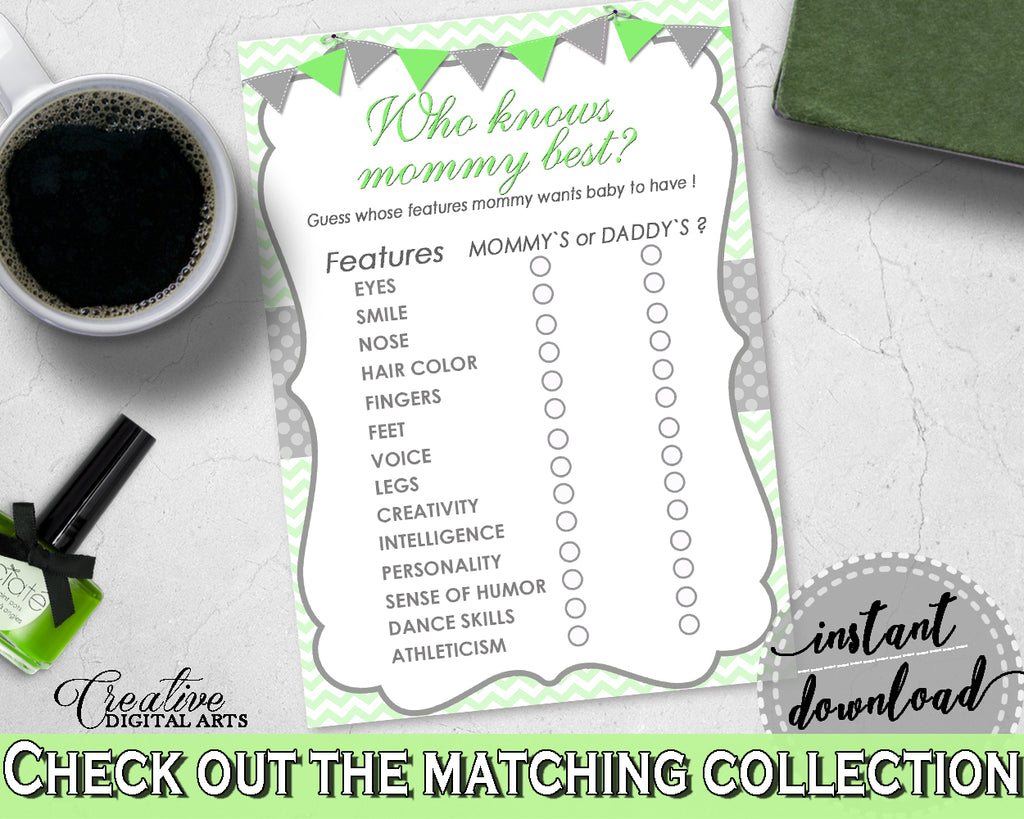 Who KNOWS MOMMY BEST baby shower game with chevron green theme printable, digital files Jpg Pdf, instant download - cgr01