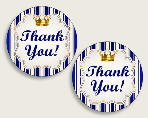 Royal Prince Baby Shower Round Thank You Tags 2 Inch Printable Blue