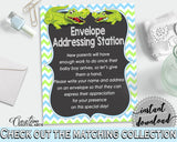 ADDRESS STATION baby shower sign with green alligator and blue color theme, instant download - ap002