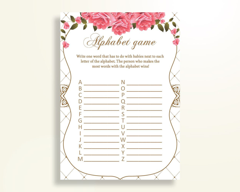 Alphabet Game Baby Shower Abc Game Roses Baby Shower Alphabet Game Baby Shower Roses Abc Game Pink White instant download pdf jpg U3FPX - Digital Product