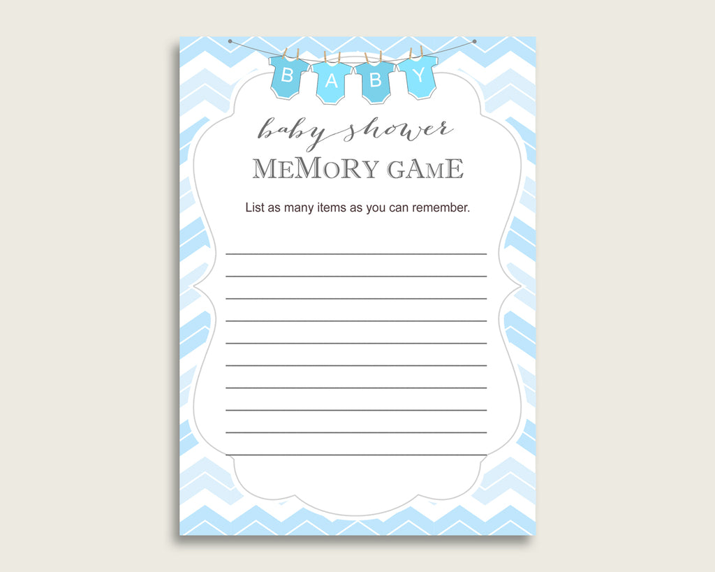 Chevron Baby Shower Memory Game, Blue White Memory Guessing Game Printable, Baby Shower Boy, Instant Download, Zig Zag Theme Popular cbl01