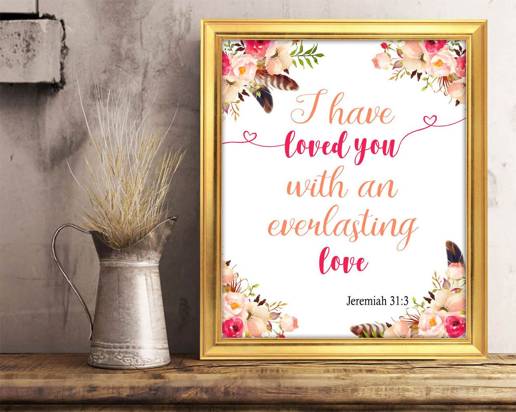 Wall Art Jeremiah Digital Print Christian Poster Art Jeremiah Wall Art Print Christian  Wall Decor Jeremiah everlasting love verse printable - Digital Download