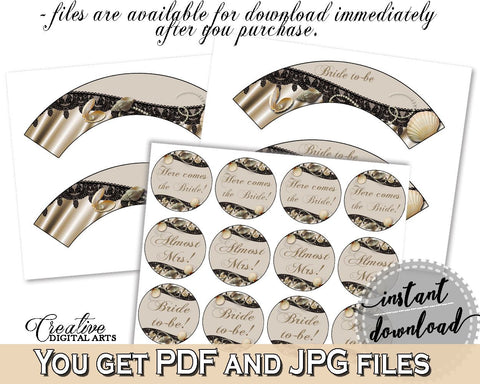 Brown And Beige Seashells And Pearls Bridal Shower Theme: Cupcake Toppers And Wrappers - bridal decoration, party planning, prints - 65924 - Digital Product