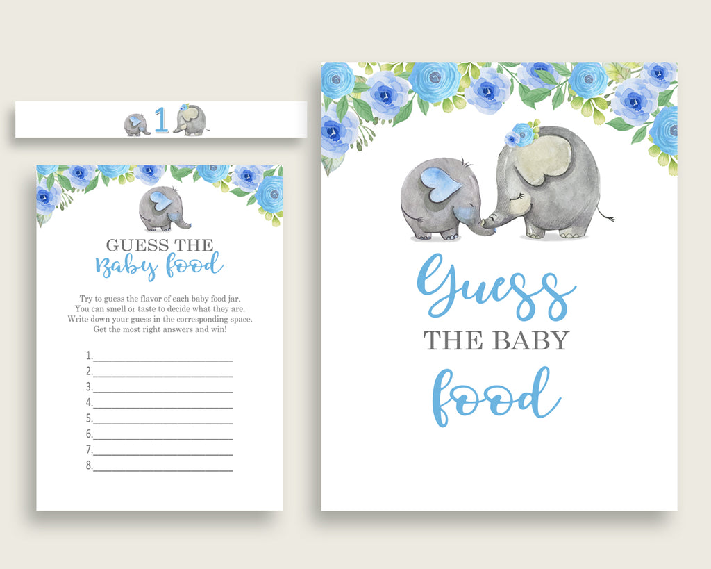 Blue Gray Elephant Blue Guess The Baby Food Game Printable, Boy Baby Shower Food Guessing Game Activity, Instant Download, Mammoth ebl01