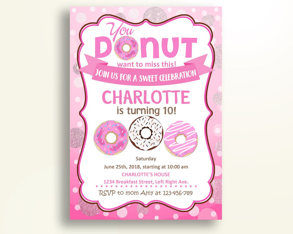 Doughnut Birthday Invitation Doughnut Birthday Party Invitation Doughnut Birthday Party Doughnut Invitation Girl donut invitation WOSED - Digital Product